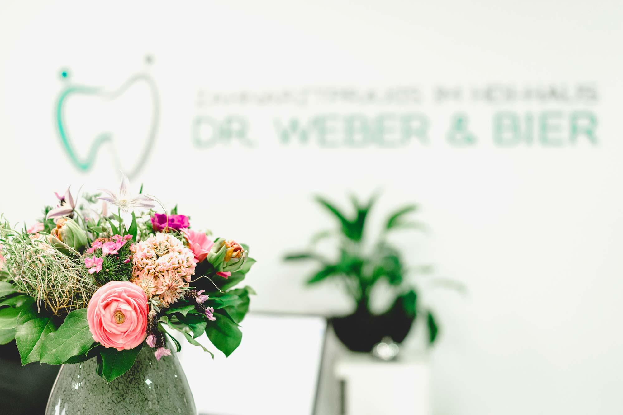Empfang mit Blumen bei Zahnarztpraxis Dr. Weber & Bier in Mainz-Münchfeld